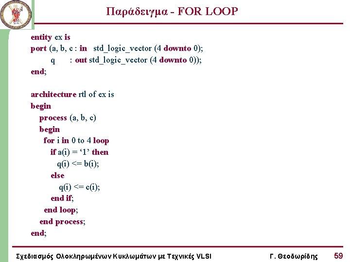 Παράδειγμα - FOR LOOP entity ex is port (a, b, c : in std_logic_vector
