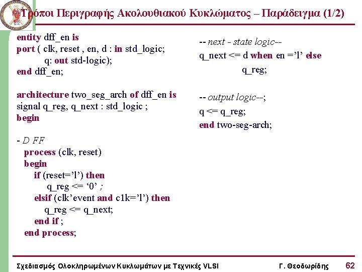 Τρόποι Περιγραφής Ακολουθιακού Κυκλώματος – Παράδειγμα (1/2) entity dff_en is port ( clk, reset