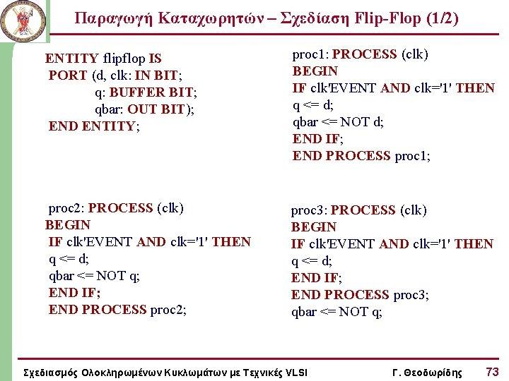Παραγωγή Καταχωρητών – Σχεδίαση Flip-Flop (1/2) ENTITY flipflop IS PORT (d, clk: IN BIT;