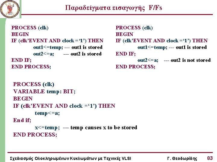 Παραδείγματα εισαγωγής F/Fs PROCESS (clk) BEGIN IF (clk'EVENT AND clock =' 1') THEN out