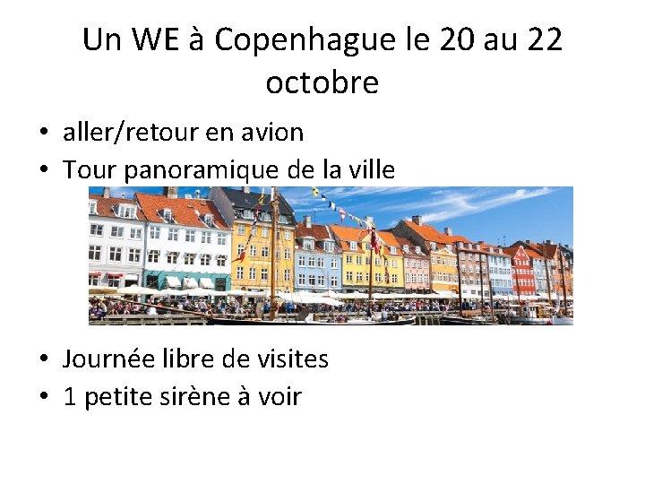 Un WE à Copenhague le 20 au 22 octobre • aller/retour en avion •