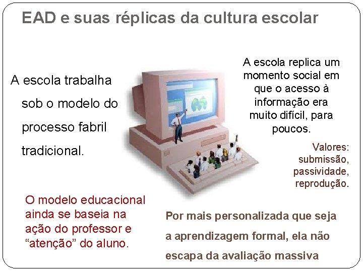 EAD e suas réplicas da cultura escolar A escola trabalha sob o modelo do