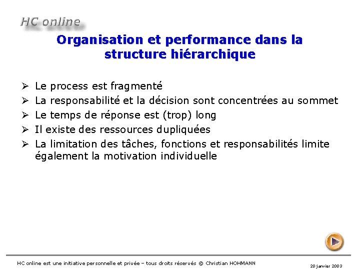 Organisation et performance dans la structure hiérarchique Ø Ø Ø Le process est fragmenté