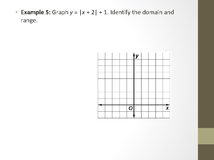 • Example 5: Graph y =  x + 2  + 1. Identify the