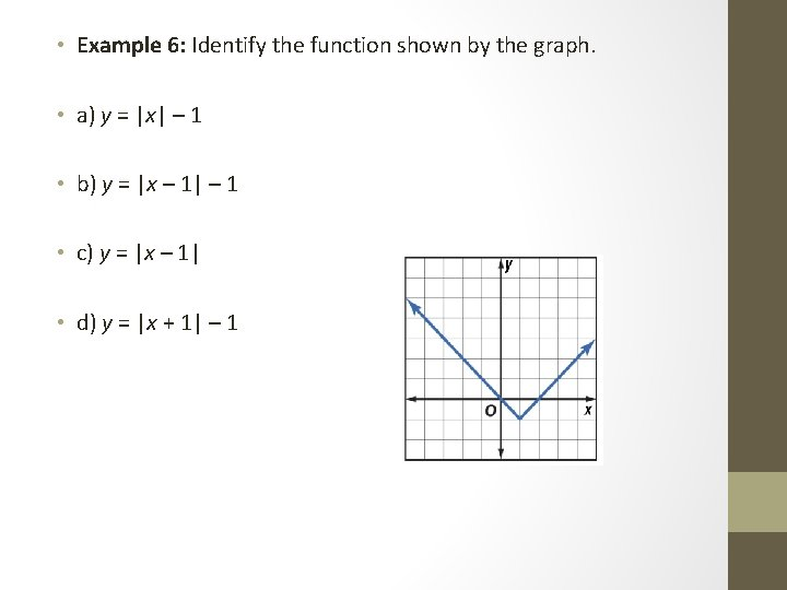 • Example 6: Identify the function shown by the graph. • a) y