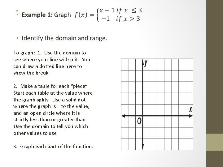 • To graph: 1. Use the domain to see where your line will