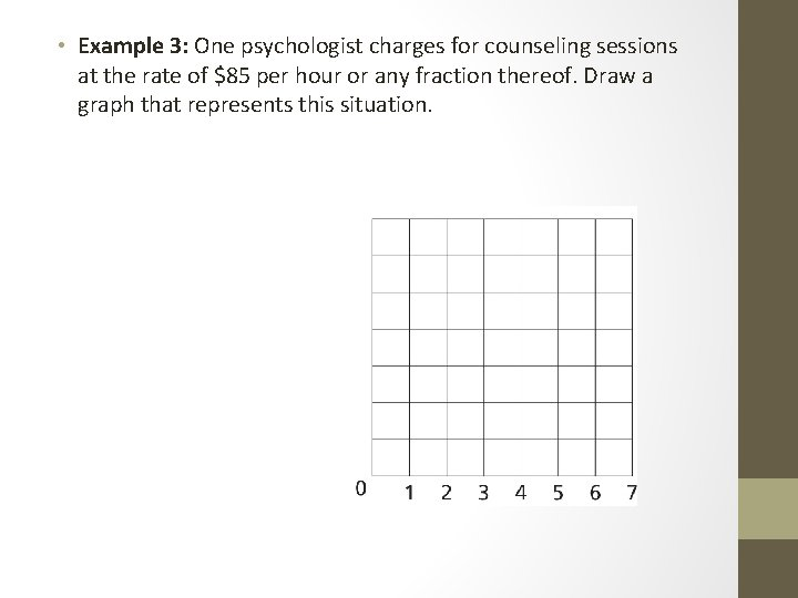 • Example 3: One psychologist charges for counseling sessions at the rate of