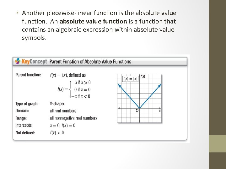 • Another piecewise-linear function is the absolute value function. An absolute value function