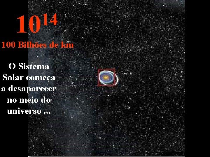 14 10 100 Bilhões de km O Sistema Solar começa a desaparecer no meio