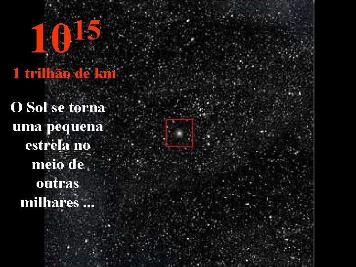 15 10 1 trilhão de km O Sol se torna uma pequena estrela no