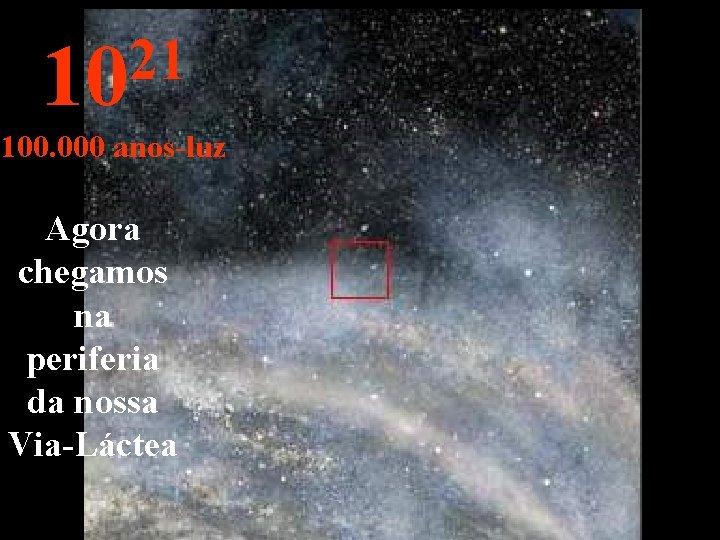 21 10 100. 000 anos-luz Agora chegamos na periferia da nossa Via-Láctea