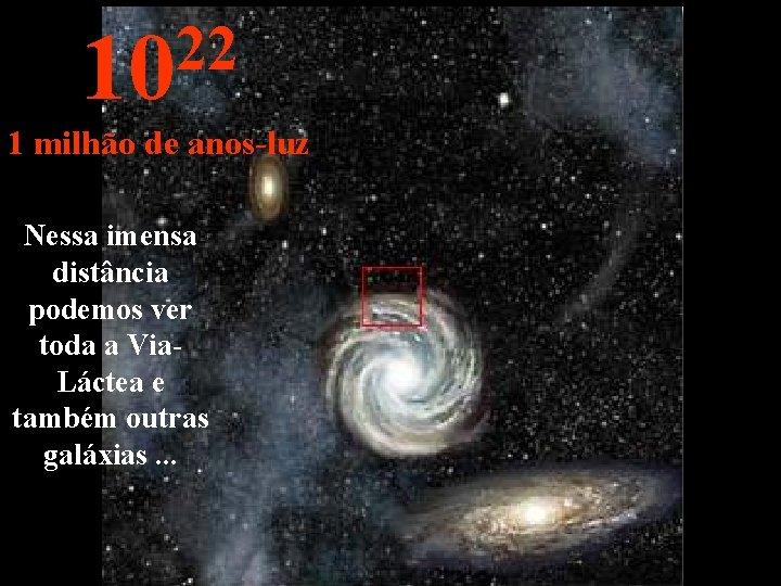 22 10 1 milhão de anos-luz Nessa imensa distância podemos ver toda a Via.