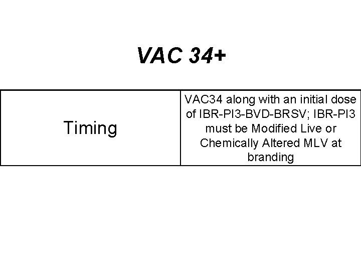 VAC 34+ Timing VAC 34 along with an initial dose of IBR-PI 3 -BVD-BRSV;