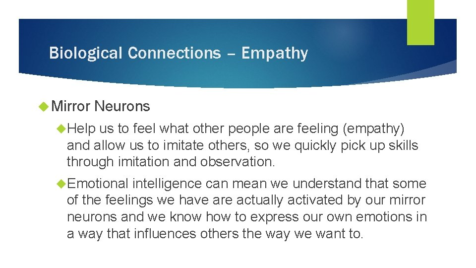 Biological Connections – Empathy Mirror Neurons Help us to feel what other people are