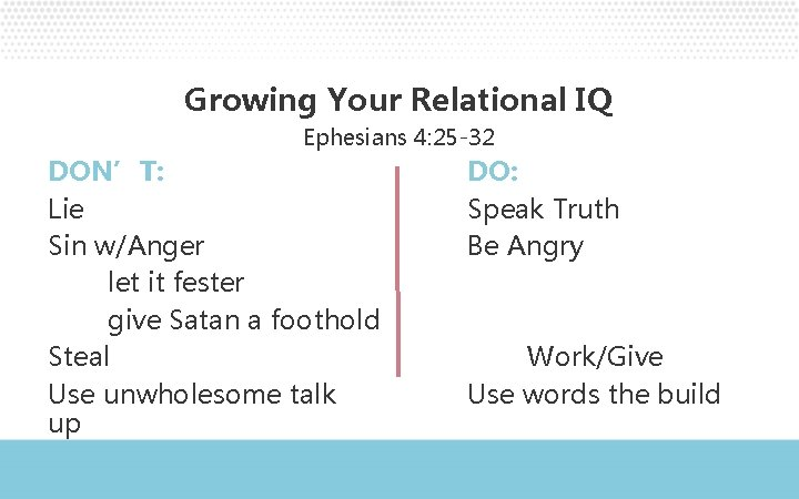 Growing Your Relational IQ Ephesians 4: 25 -32 DON'T: Lie Sin w/Anger let it