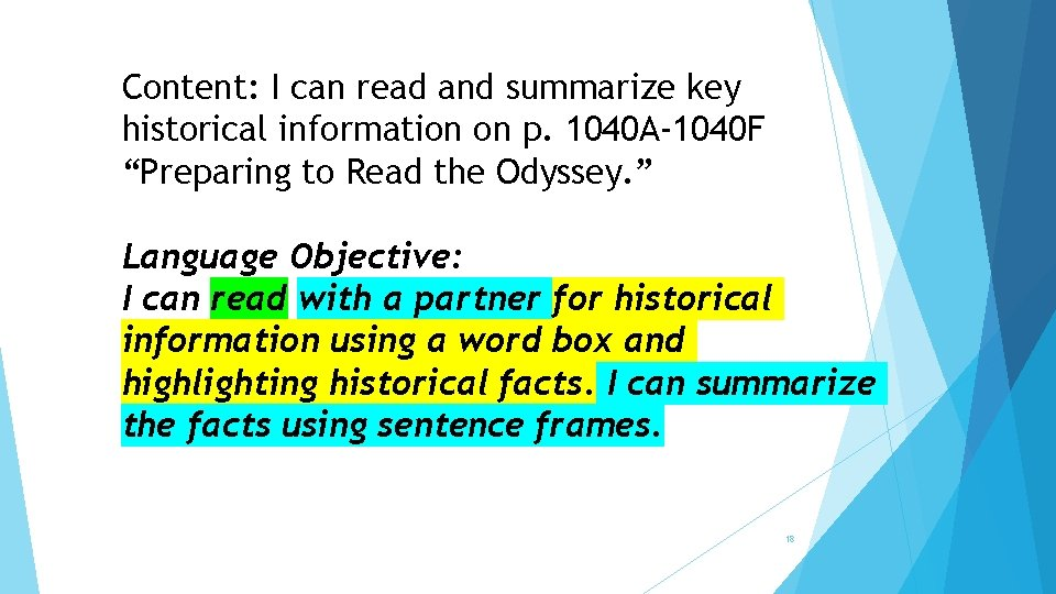 Content: I can read and summarize key historical information on p. 1040 A-1040 F