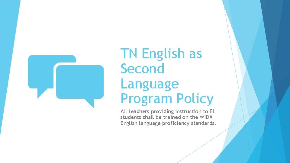 TN English as Second Language Program Policy All teachers providing instruction to EL students