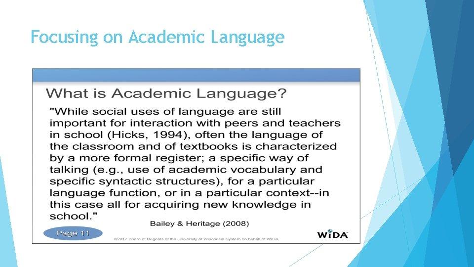 Focusing on Academic Language