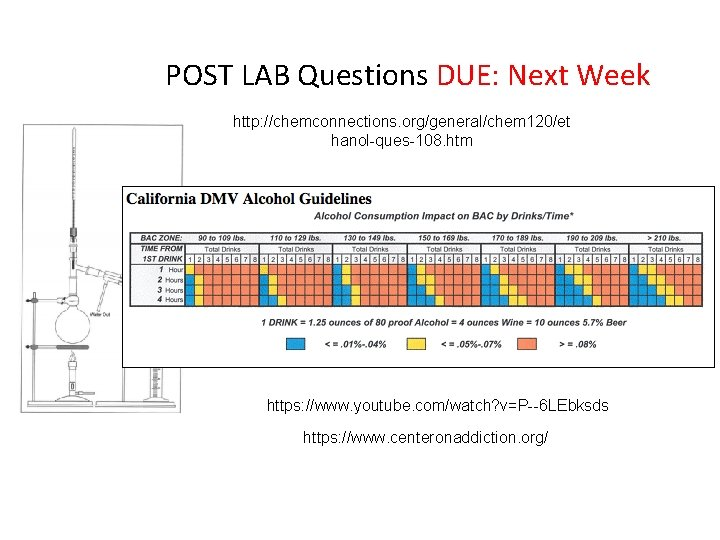 POST LAB Questions DUE: Next Week http: //chemconnections. org/general/chem 120/et hanol-ques-108. htm https: //www.