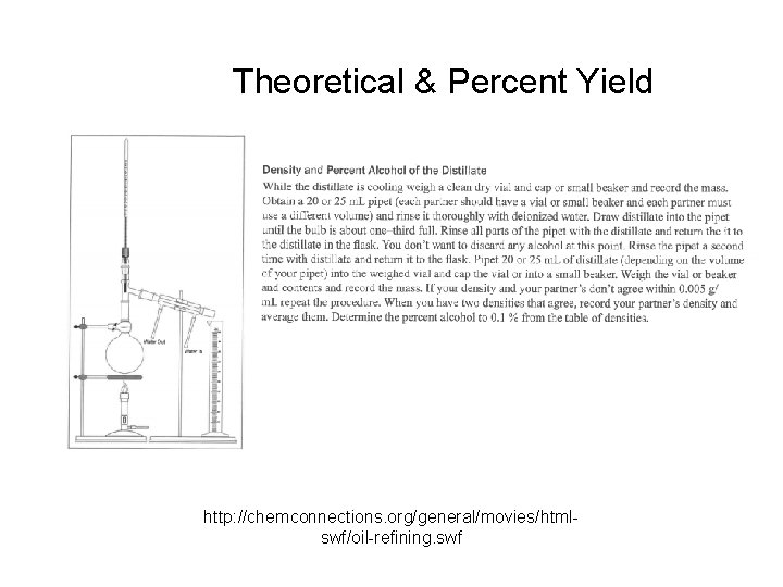 Theoretical & Percent Yield http: //chemconnections. org/general/movies/htmlswf/oil-refining. swf