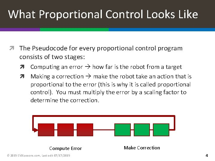 What Proportional Control Looks Like The Pseudocode for every proportional control program consists of