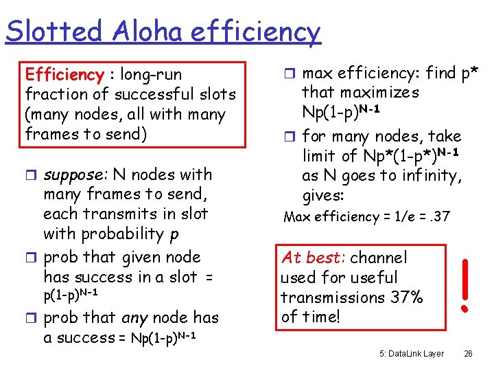Slotted Aloha efficiency Efficiency : long-run fraction of successful slots (many nodes, all with