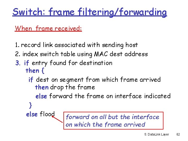 Switch: frame filtering/forwarding When frame received: 1. record link associated with sending host 2.