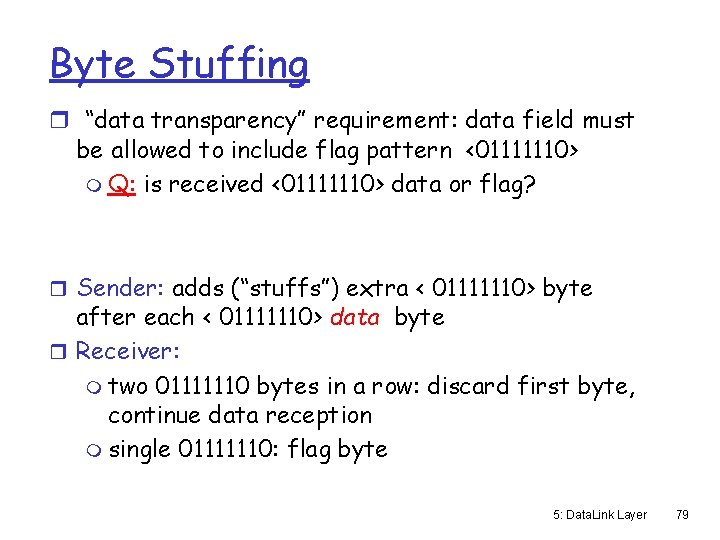 """Byte Stuffing r """"data transparency"""" requirement: data field must be allowed to include flag"""