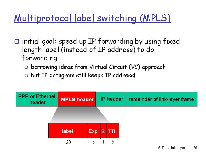 Multiprotocol label switching (MPLS) r initial goal: speed up IP forwarding by using fixed