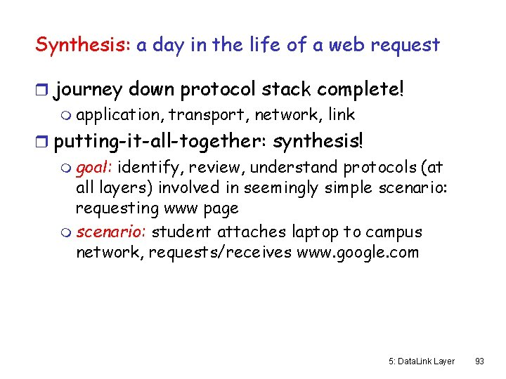 Synthesis: a day in the life of a web request r journey down protocol