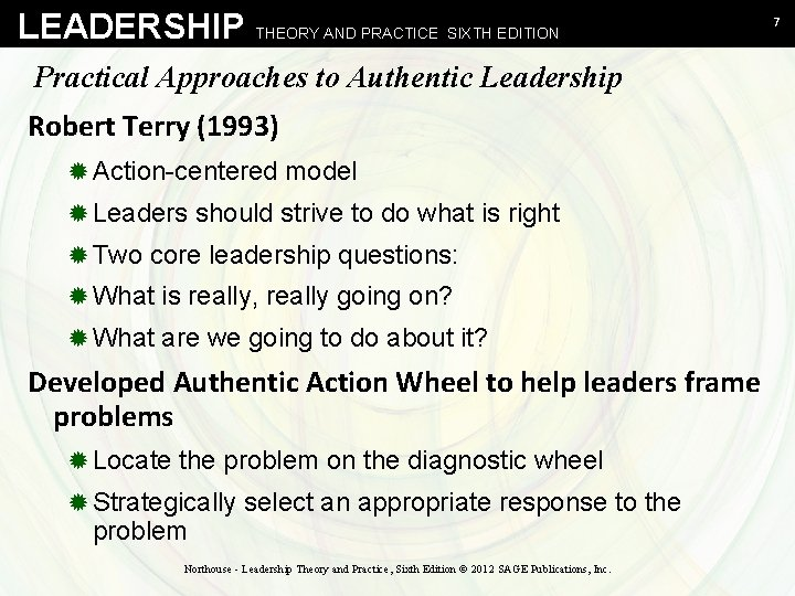 LEADERSHIP THEORY AND PRACTICE SIXTH EDITION Practical Approaches to Authentic Leadership Robert Terry (1993)