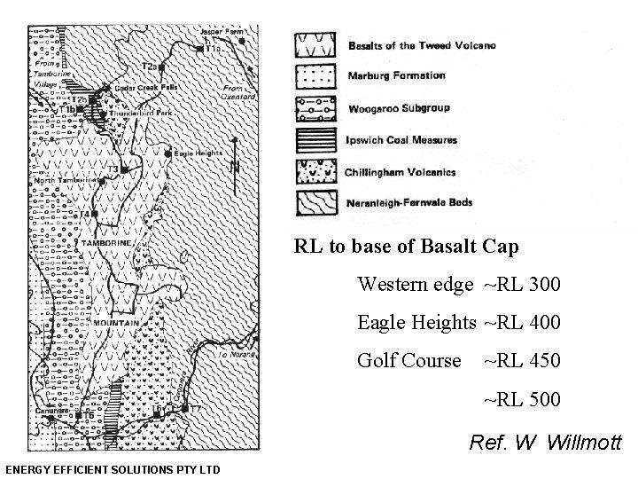 RL to base of Basalt Cap Western edge ~RL 300 Eagle Heights ~RL 400