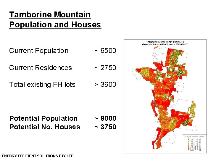 Tamborine Mountain Population and Houses Current Population ~ 6500 Current Residences ~ 2750 Total