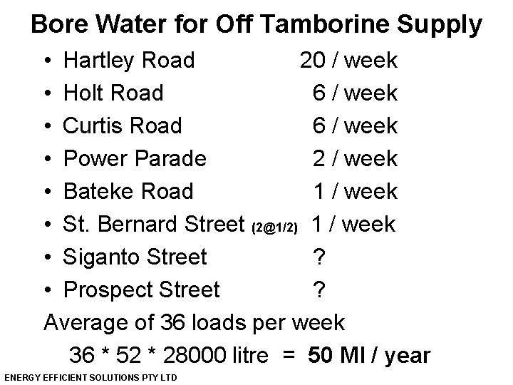 Bore Water for Off Tamborine Supply • Hartley Road 20 / week • Holt