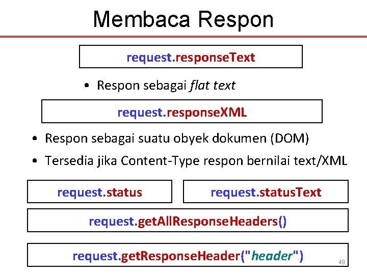 Membaca Respon request. response. Text • Respon sebagai flat text request. response. XML •