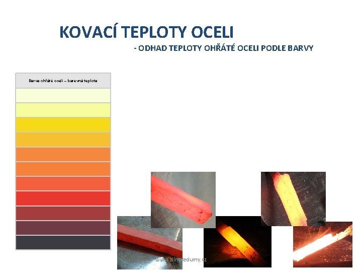 KOVACÍ TEPLOTY OCELI - ODHAD TEPLOTY OHŘÁTÉ OCELI PODLE BARVY Barva ohřáté oceli –