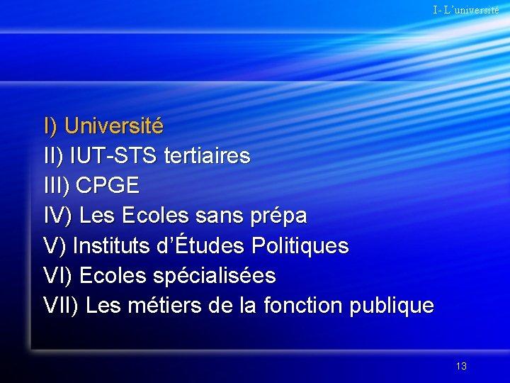 I- L'université I) Université II) IUT-STS tertiaires III) CPGE IV) Les Ecoles sans prépa