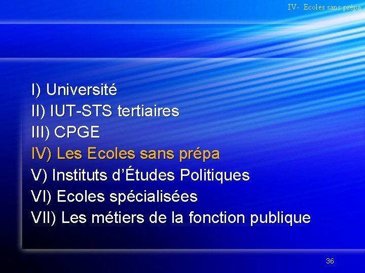 IV- Ecoles sans prépa I) Université II) IUT-STS tertiaires III) CPGE IV) Les Ecoles