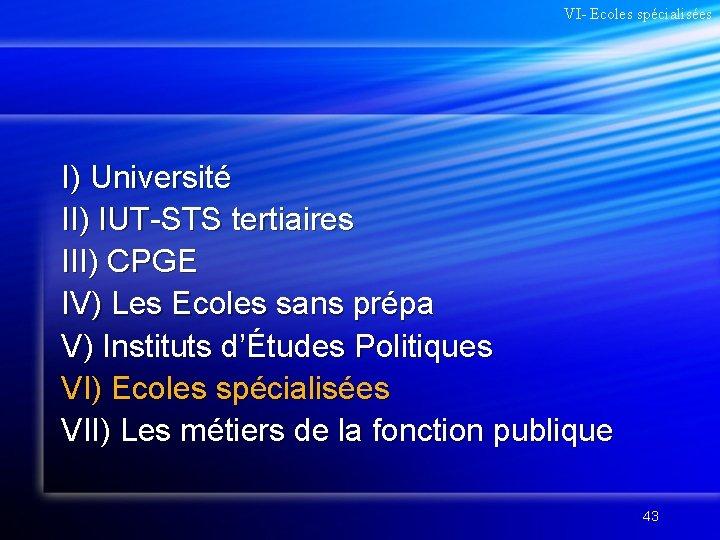 VI- Ecoles spécialisées I) Université II) IUT-STS tertiaires III) CPGE IV) Les Ecoles sans