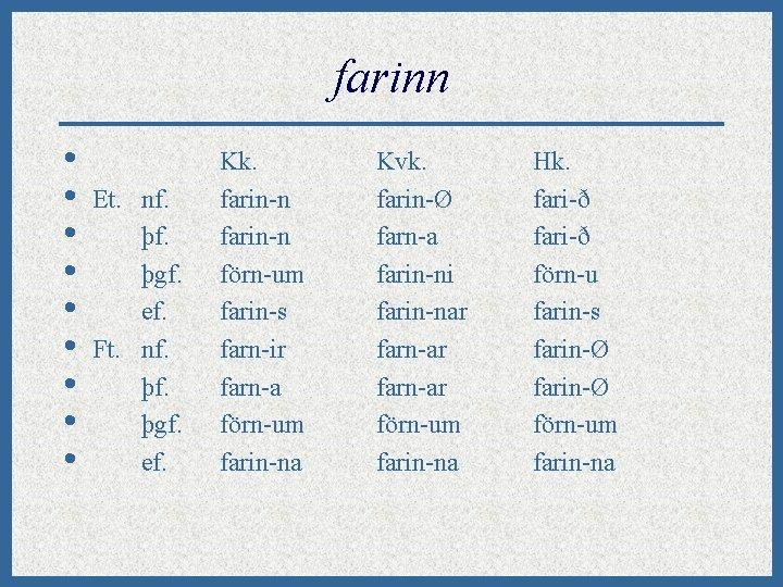 farinn • • • Et. nf. þgf. ef. Ft. nf. þgf. ef. Kk. farin-n