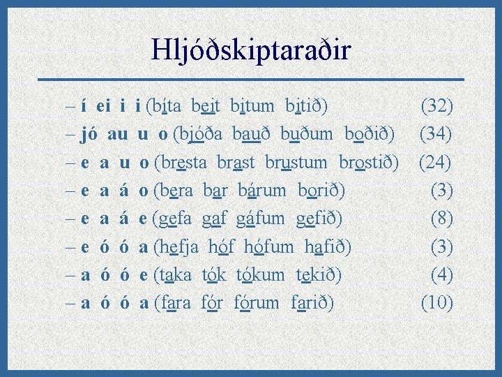 Hljóðskiptaraðir – í ei i i (bíta beit bitum bitið) (32) – jó au
