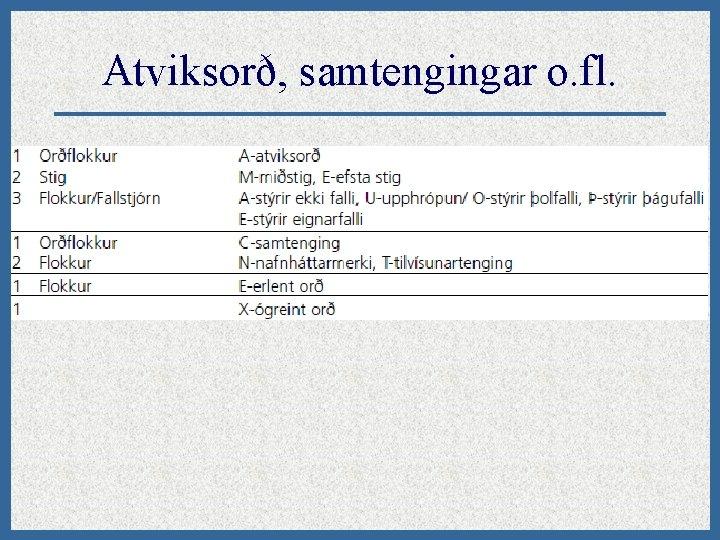 Atviksorð, samtengingar o. fl.