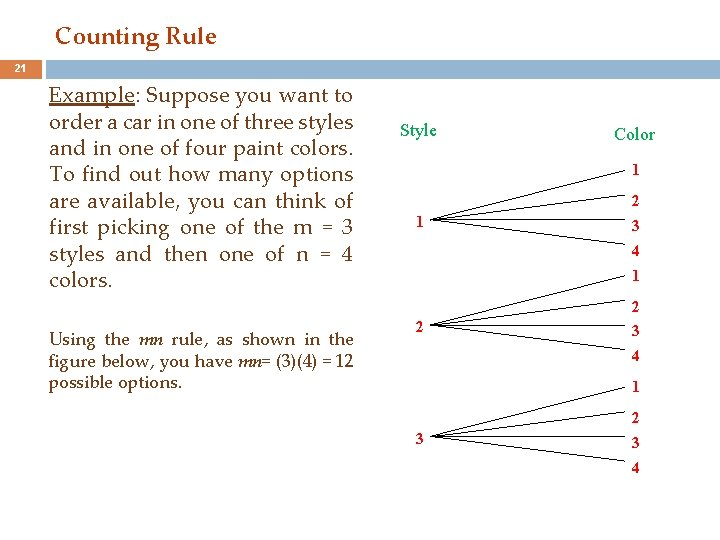 Counting Rule 21 Example: Suppose you want to order a car in one of