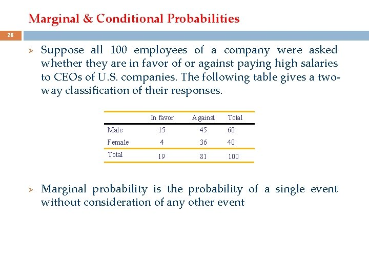 Marginal & Conditional Probabilities 26 Ø Suppose all 100 employees of a company were