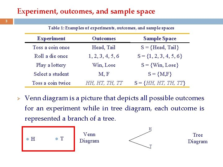 Experiment, outcomes, and sample space 3 Table 1: Examples of experiments, outcomes, and sample
