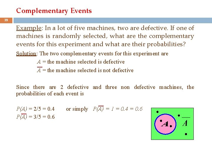 Complementary Events 39 Example: In a lot of five machines, two are defective. If