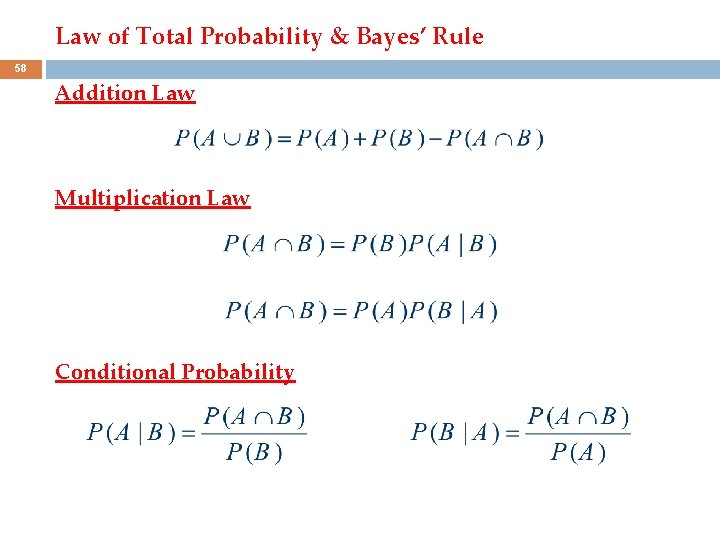 Law of Total Probability & Bayes' Rule 58 Addition Law Multiplication Law Conditional Probability