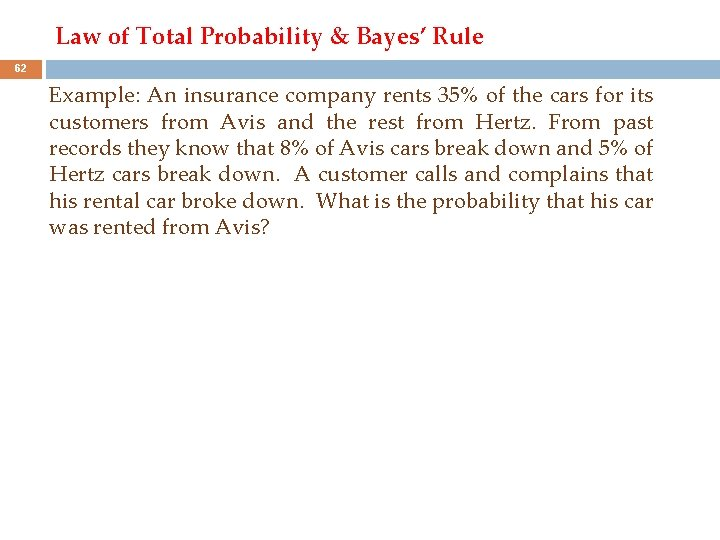 Law of Total Probability & Bayes' Rule 62 Example: An insurance company rents 35%