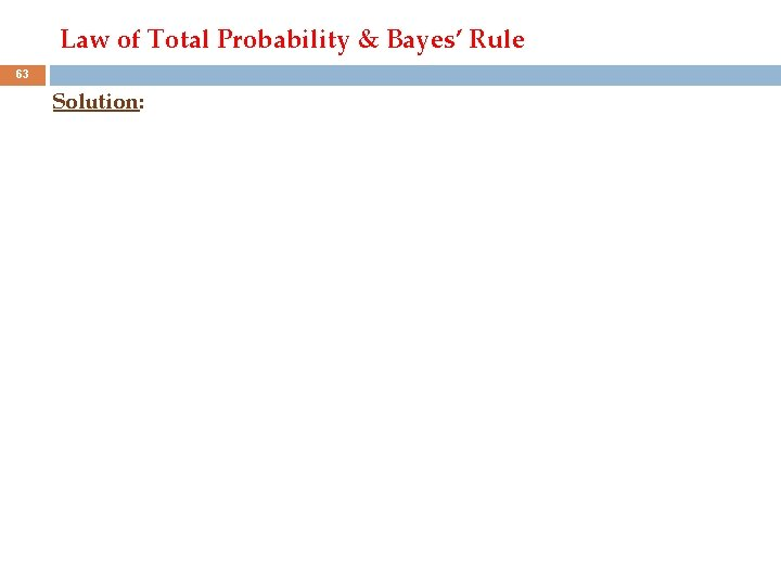 Law of Total Probability & Bayes' Rule 63 Solution:
