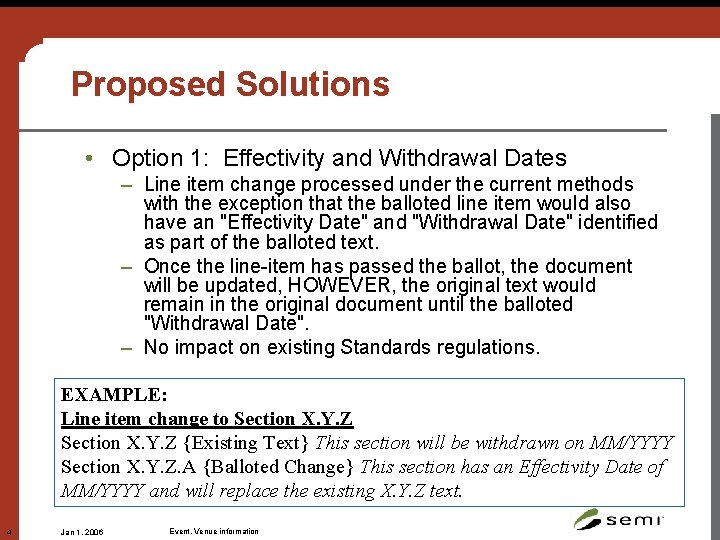 Proposed Solutions • Option 1: Effectivity and Withdrawal Dates – Line item change processed